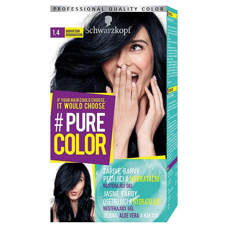Fotografie Schwarzkopf Pure Color barva na vlasy Borůvkově Černá 1.4, 60 ml