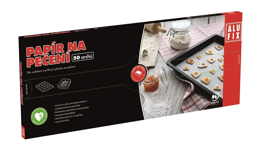 Alufix papír na pečení archy 33 x 42 cm v krabičce 50 ks