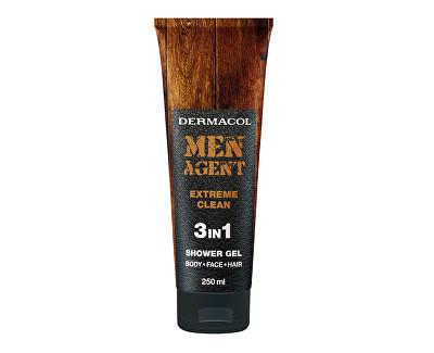 Fotografie Dermacol Men Agent 3v1 Extreme Clean sprchový gel 250 ml tuba