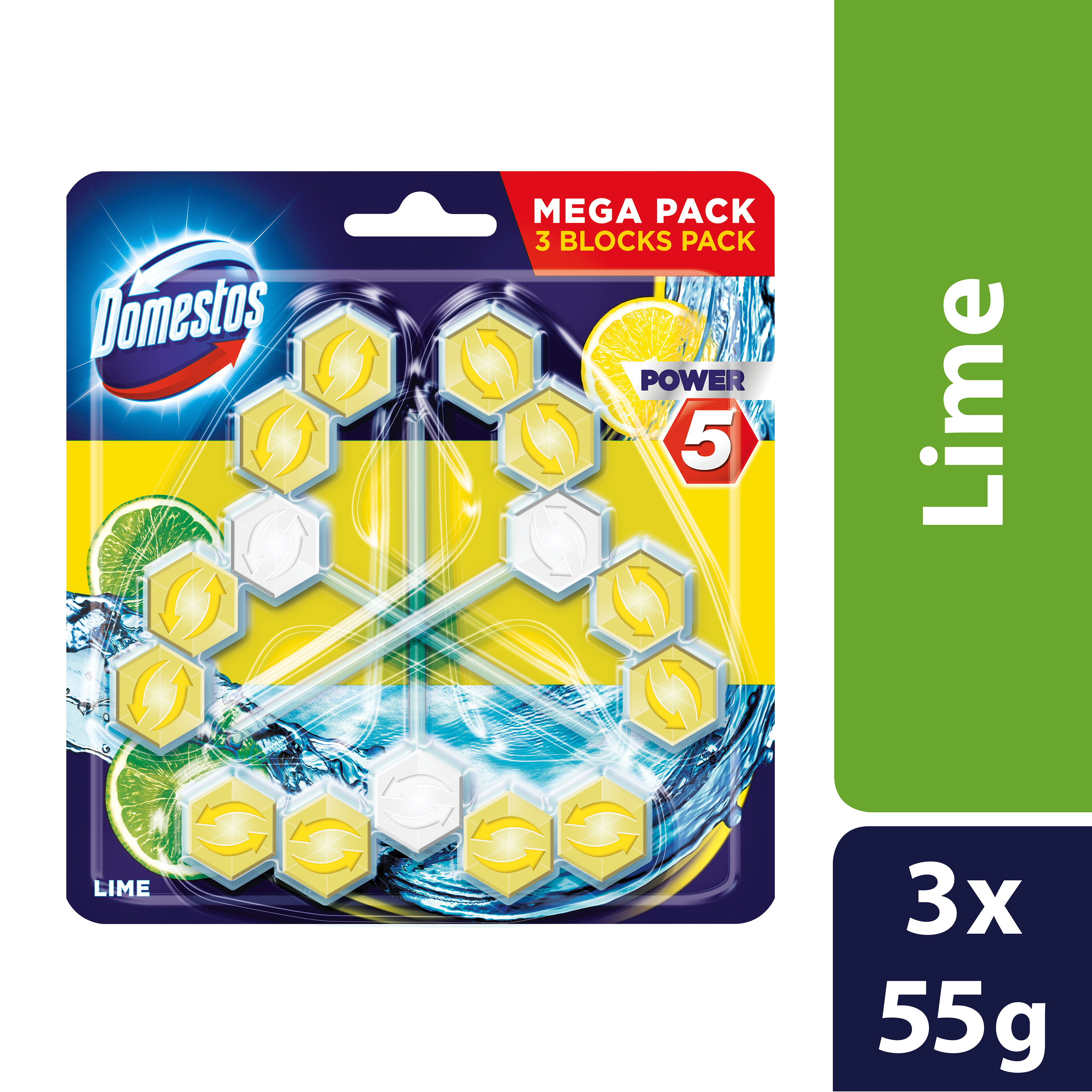 Domestos Power 5 Lime tuhý WC blok 3x 55 g