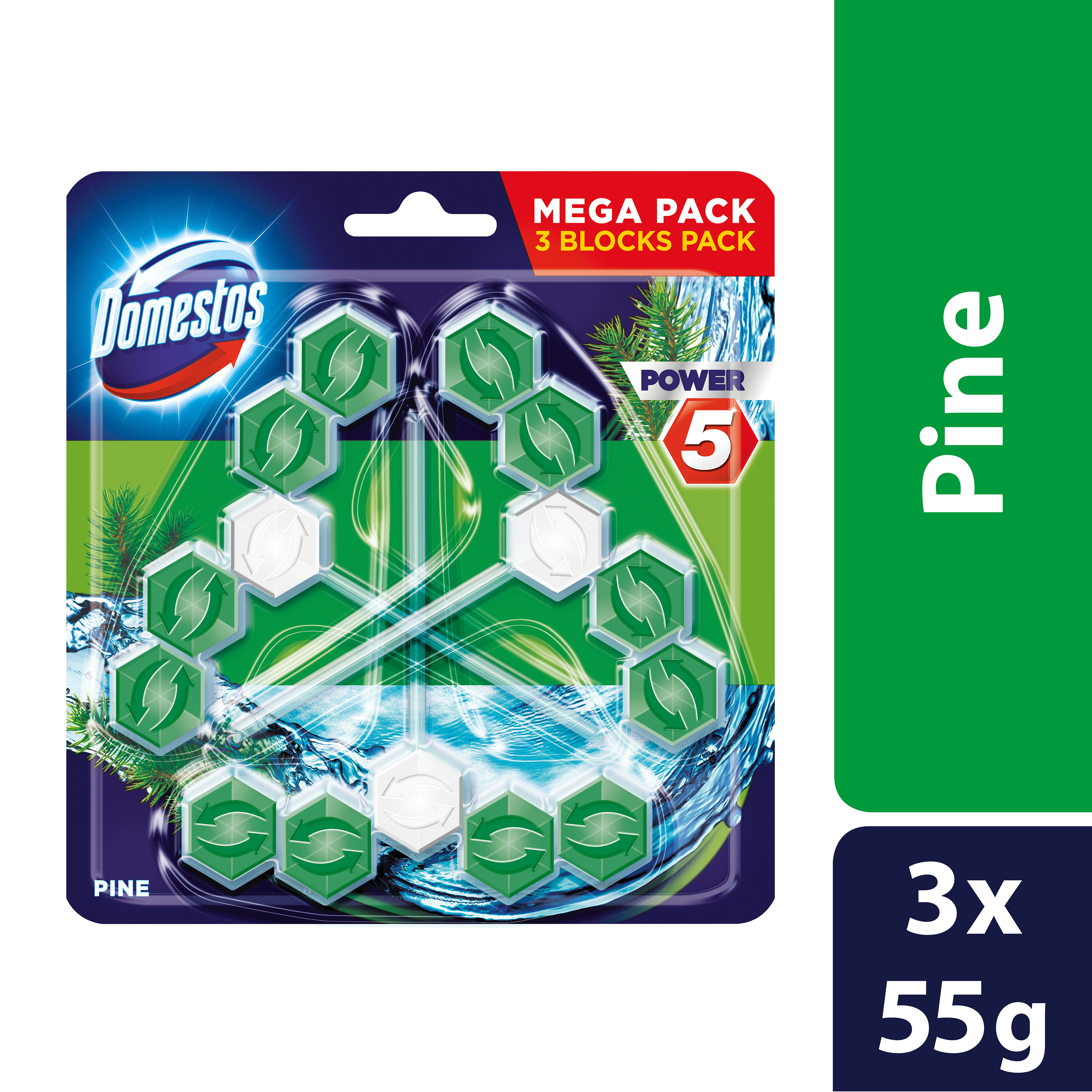 Domestos Power 5 Pine tuhý WC blok 3x 55 g