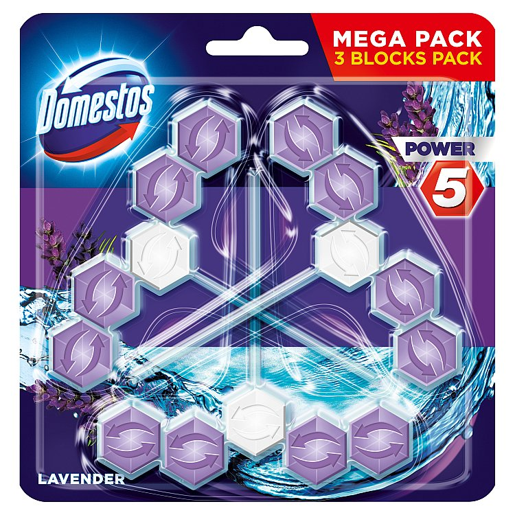 Domestos Power 5 Levandule tuhý WC blok 3 x 55 g