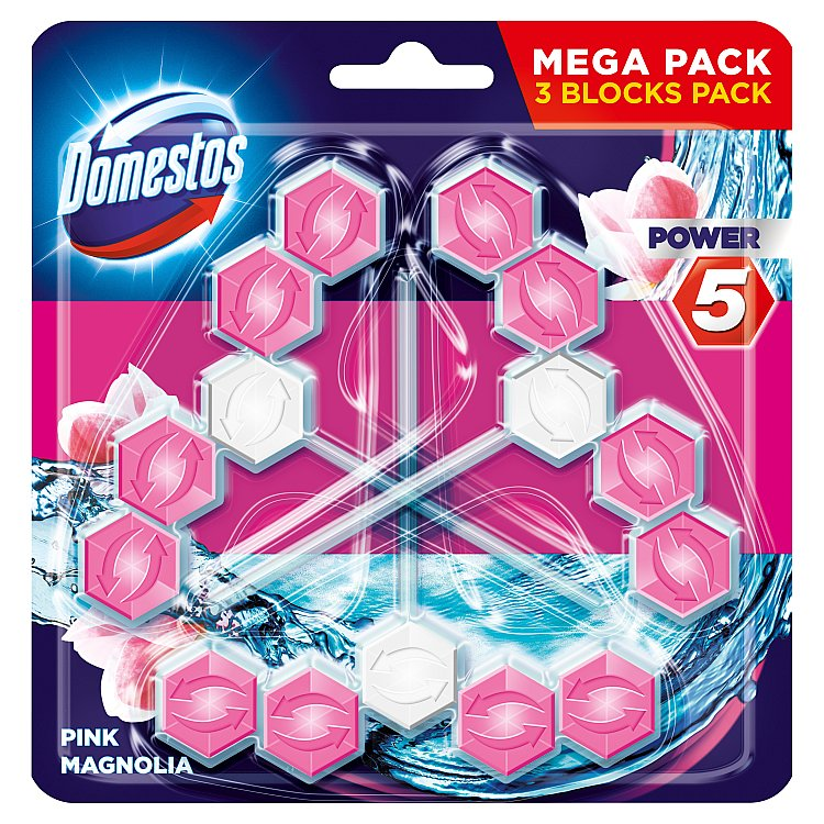 Domestos Power 5 Magnolia tuhý WC blok 3 x 55 g