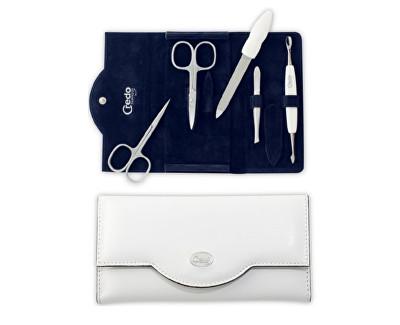 Luxusní 5dílná manikúra v bílém koženkovém pouzdře Bianco 5