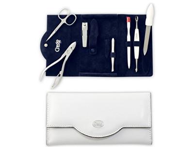 Luxusní 7dílná manikúra v bílém koženkovém pouzdře Bianco 7