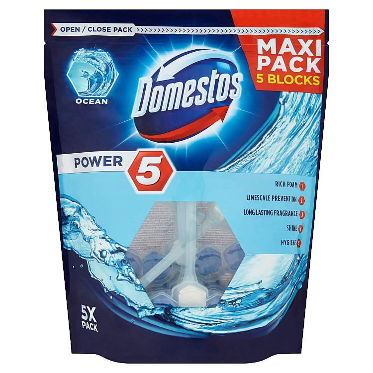 Domestos Power 5 Ocean tuhý WC blok 5 x 55 g