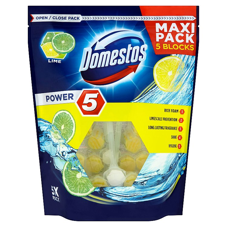 Domestos Power 5 Lime tuhý WC blok 5 x 55 g