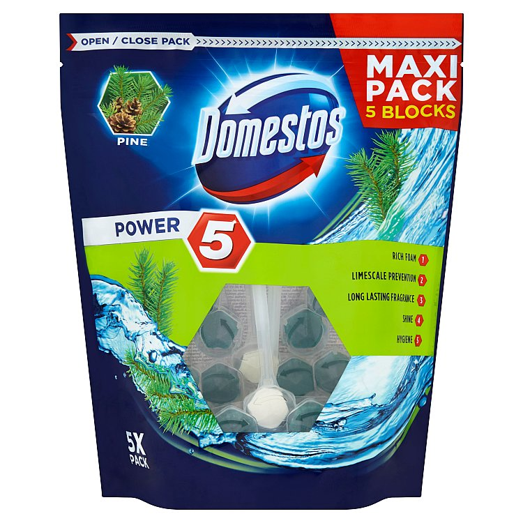 Domestos Power 5 Pine tuhý WC blok 5 x 55 g