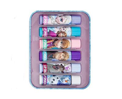Fotografie Sada balzámů na rty s různými příchutěmi Disney Frozen (Tin Box) 6 ks