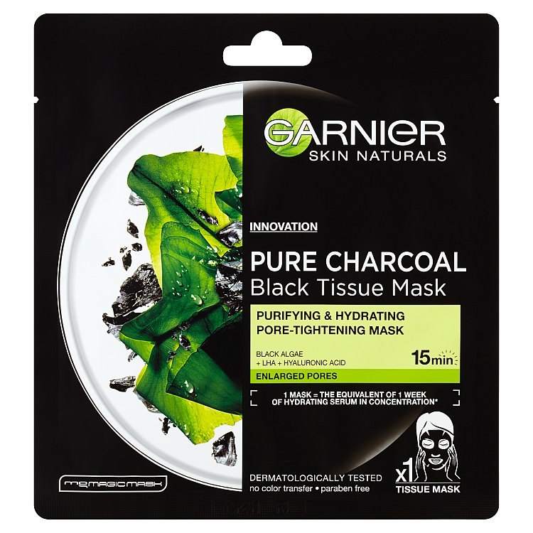 Garnier Pure Charcoal černá textilní maska s extraktem z mořských řas 1x 28 g