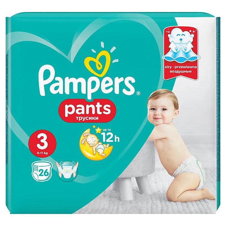 Fotografie Pampers Pants 3 Midi 6-11 kg plenkové kalhotky 26 kusů