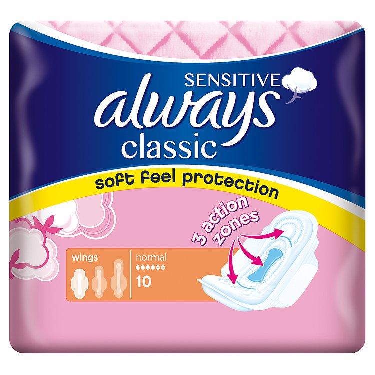 Fotografie Always Classic Sensitive Normal hygienické vložky s křidélky 10 ks