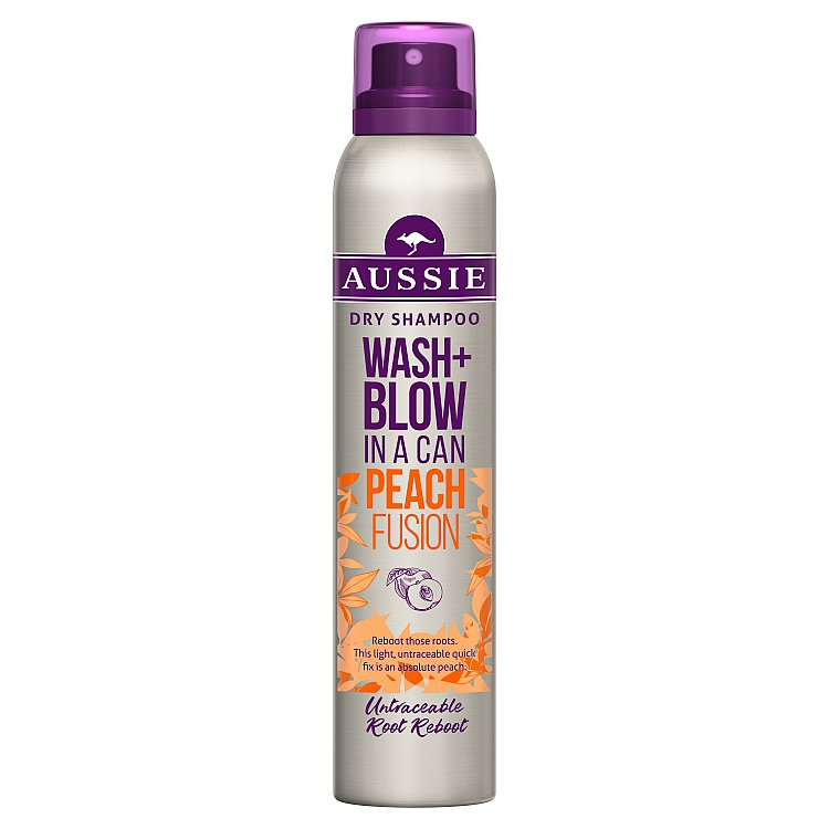 Aussie Wash+Blow Peach Fusion suchý šampon 180 ml