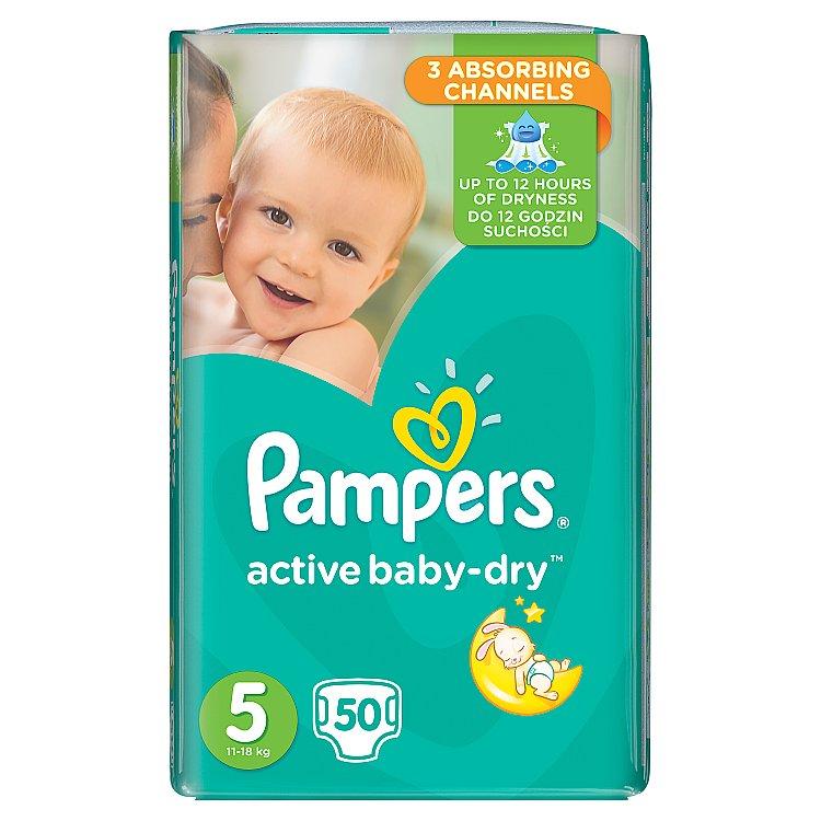 Fotografie Pampers Active Baby Dry 5 jednorázové pleny 50 ks