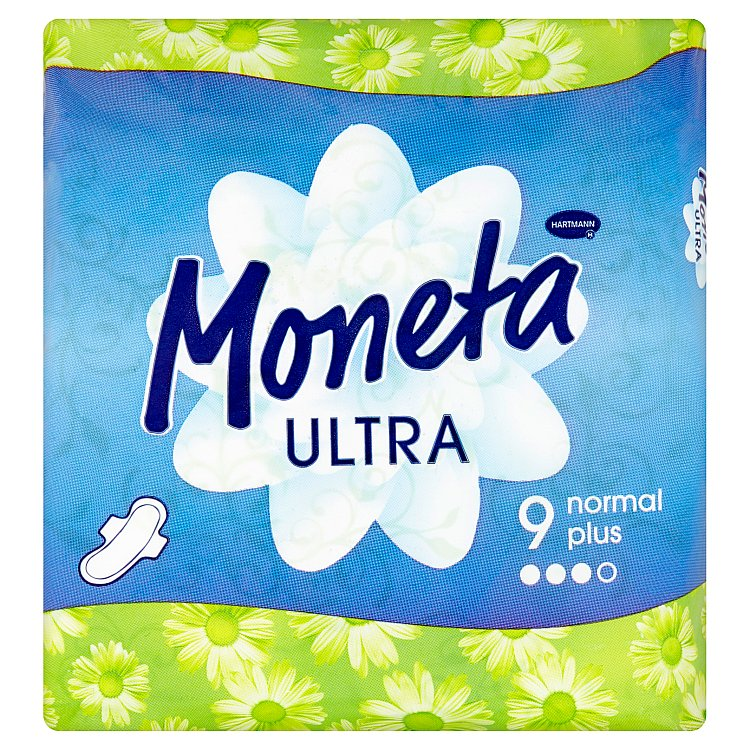 Fotografie Ria Moneta Ultra Normal Plus intimní vložky s křidélky 9 kusů