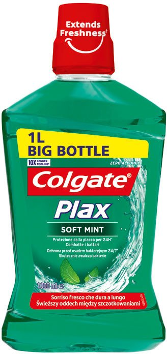 Colgate Plax Multi Protection Soft Mint ústní voda bez alkoholu 1000 ml