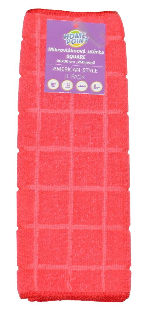 Utěrka z mikrovlákna Square 30 x 30 cm 3 ks