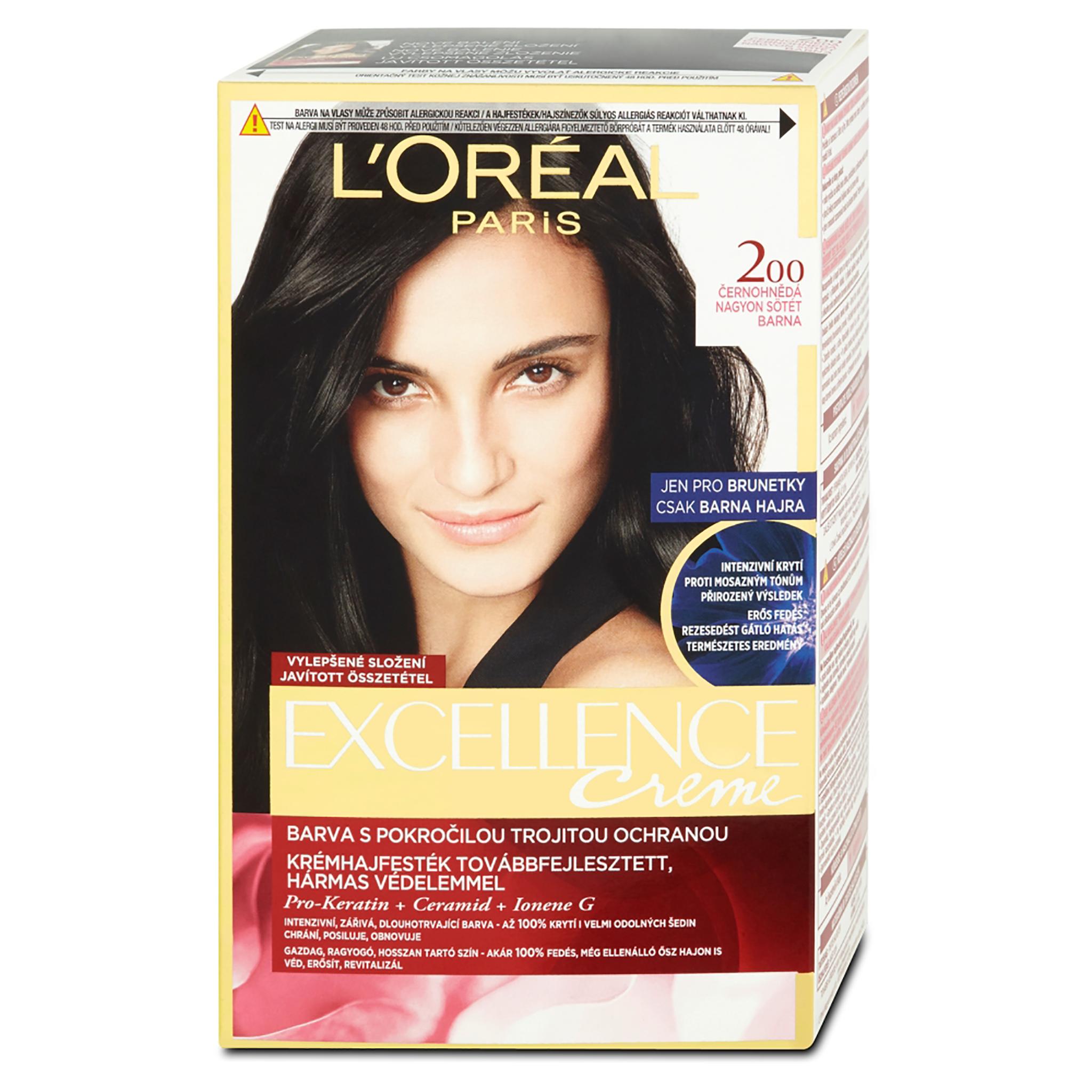 L'Oréal Paris Excellence permanentní barva na vlasy černohnědá 200