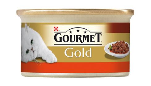 Gourmet Gold s hovězím a kuřetem v rajčatové omáčce 85g