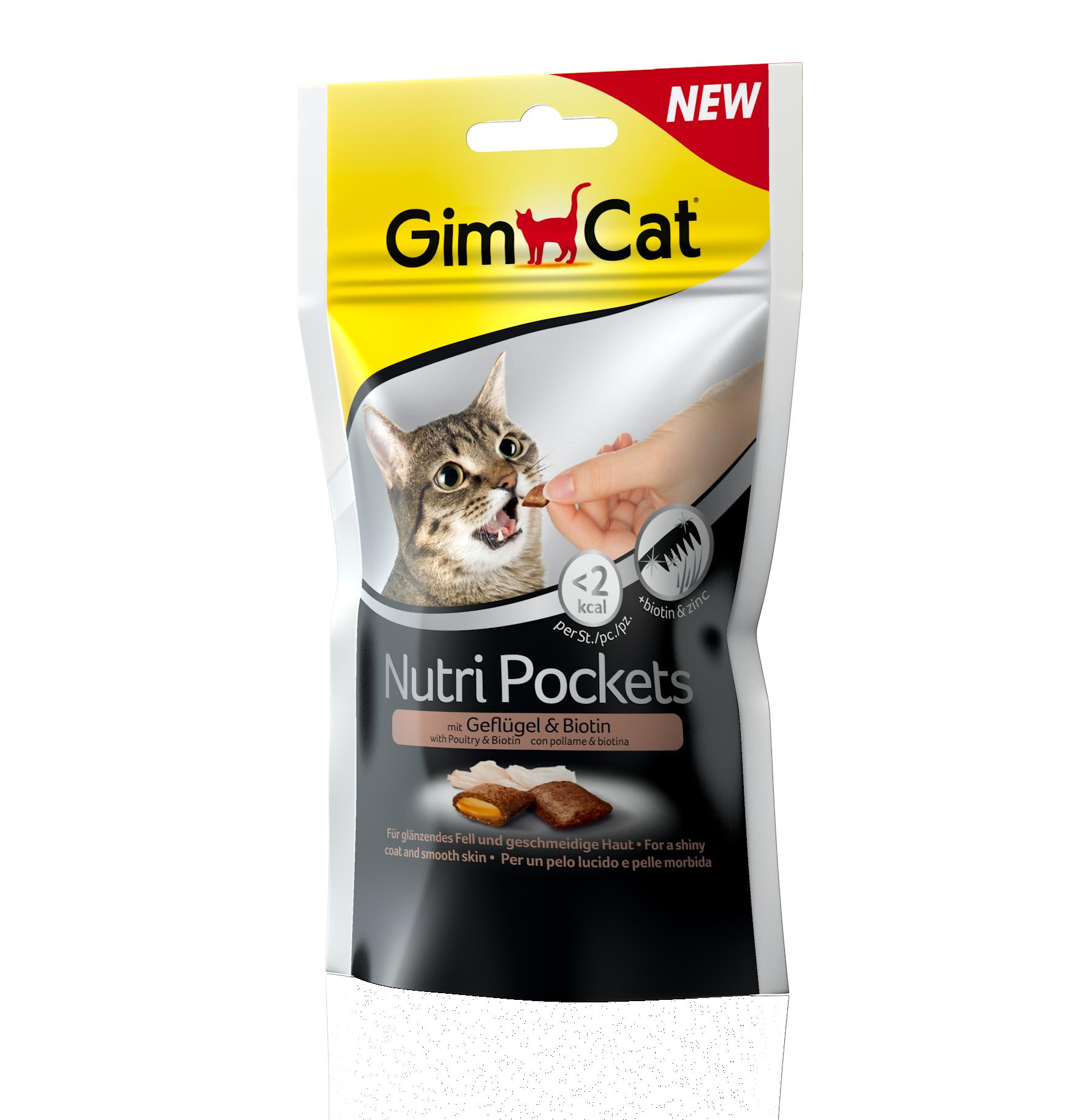 Fotografie GimCat Nutri Pockets drůbež a biotin 60g GIMBORN