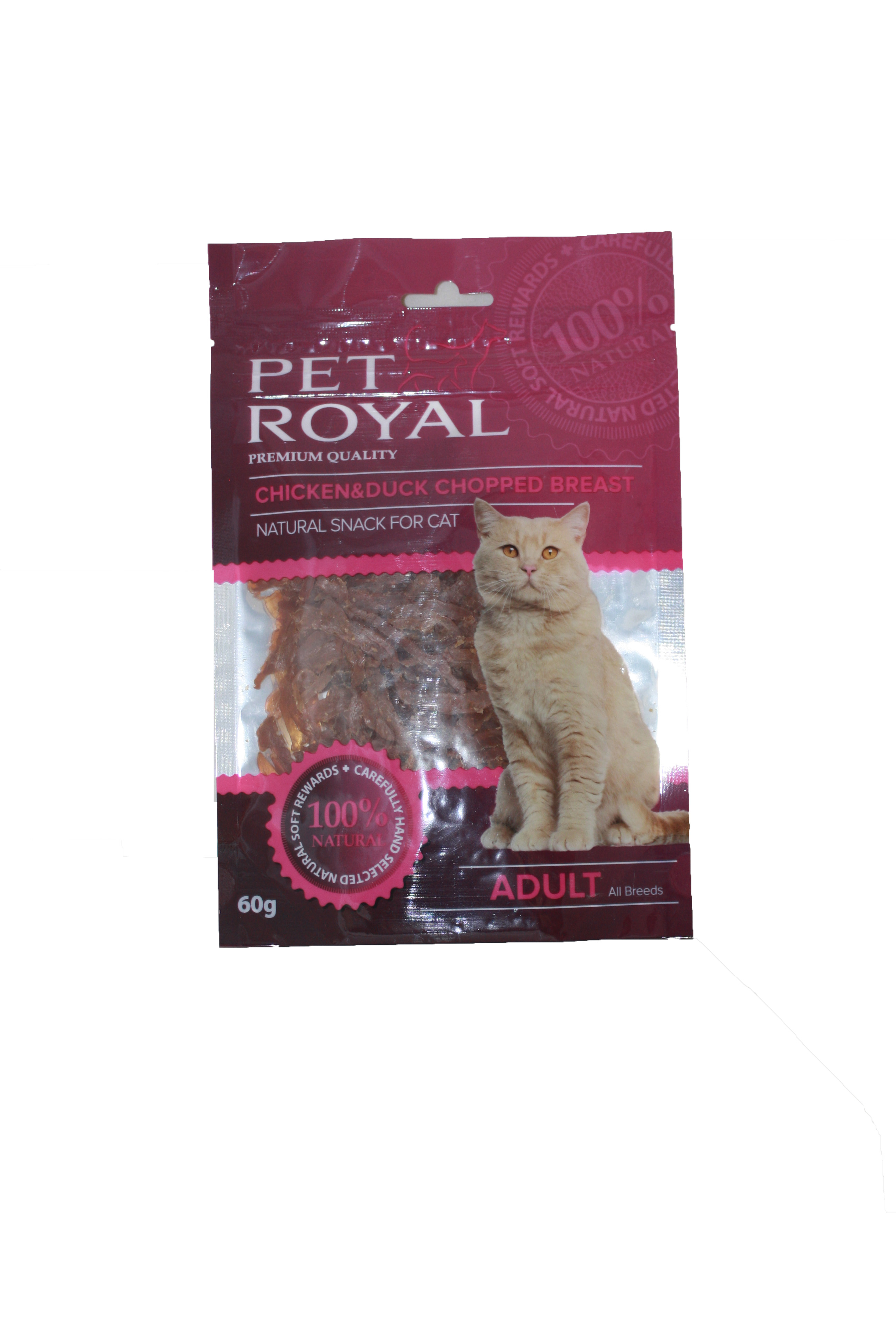 Fotografie Pet Royal Cat kuřecí a kachní prsa krájená 60g PET ROYAL