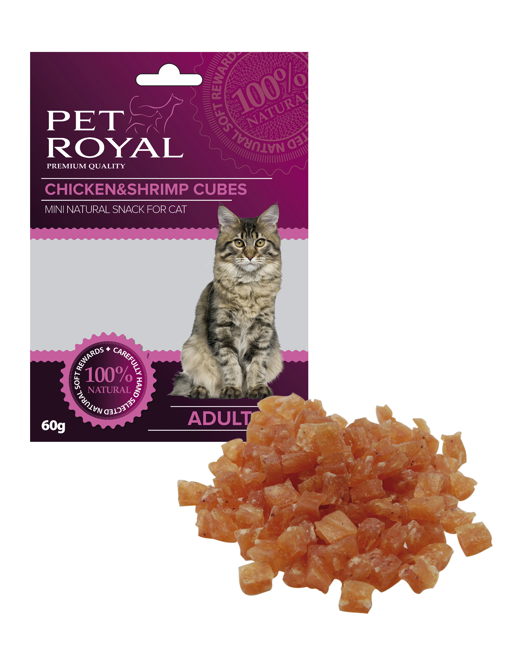 Pet Royal Cat kostky kure a kreveta 60g