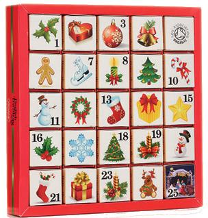 Adventní kalendář 25 kostek - Vánoční ozdoby Číselný adventní kalendář