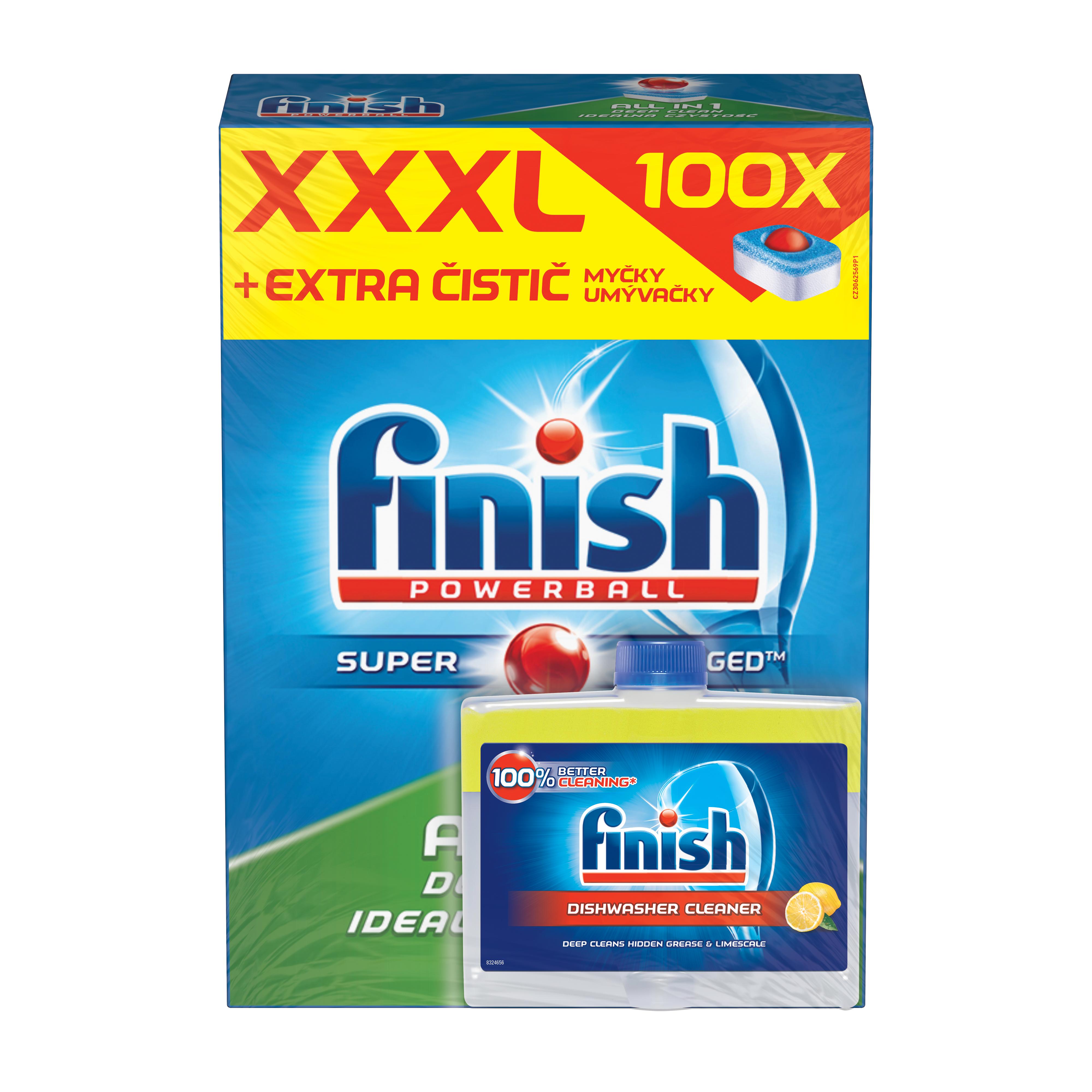 FINISH All-in-1 100 ks + Čistič myčky Lemon 250 ml 100 ks + 250 ml