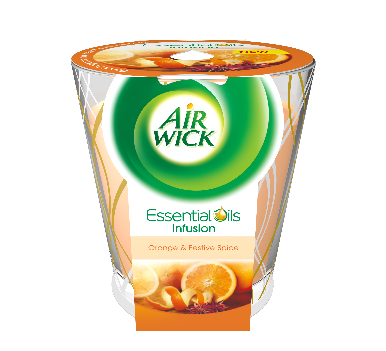 Airwick Essential Oils Infusion DECO svíčka Pomeranč a sváteční koření 105 g