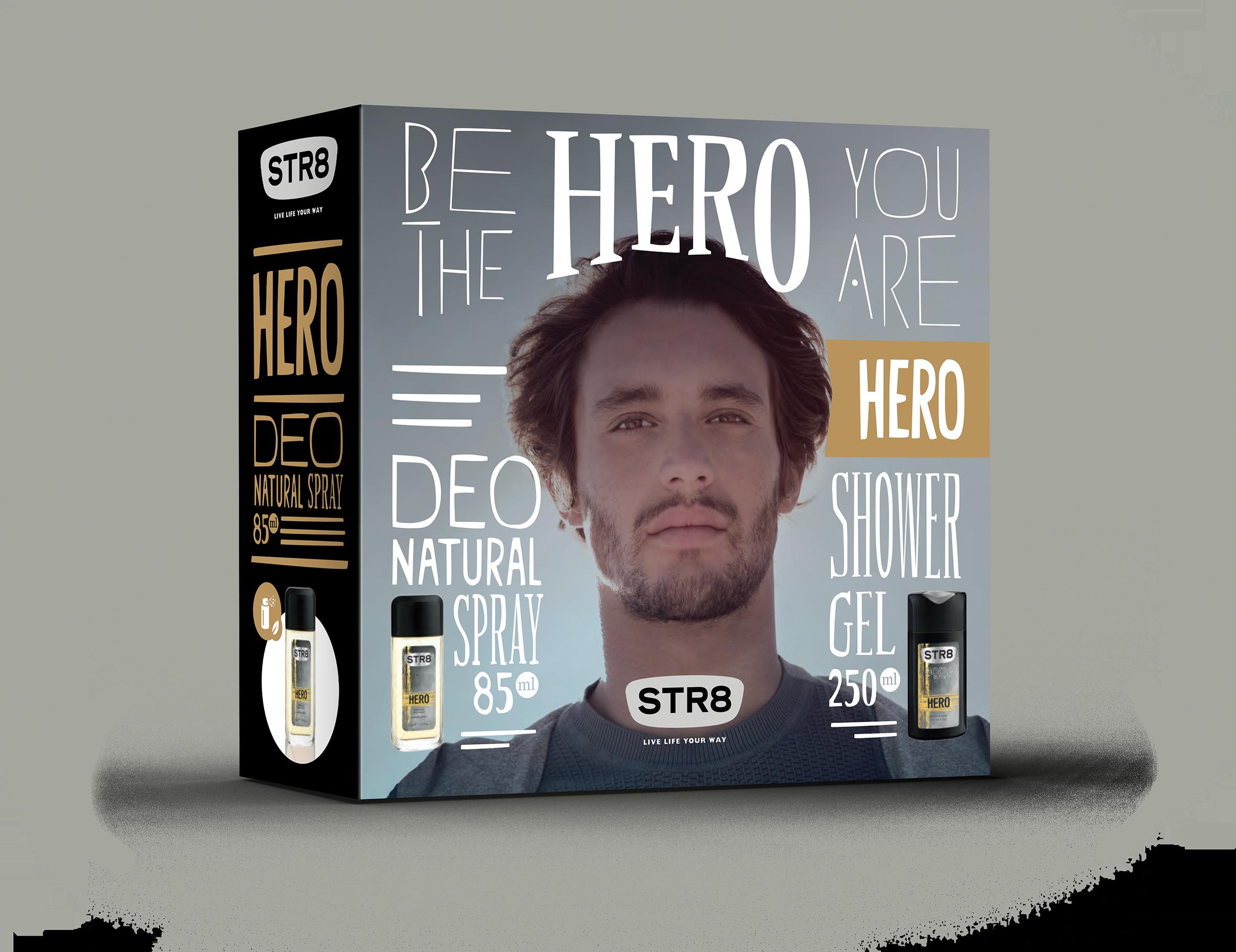 STR8 HERO deo natural sprej + sprchový gel 85 ml + 250 ml