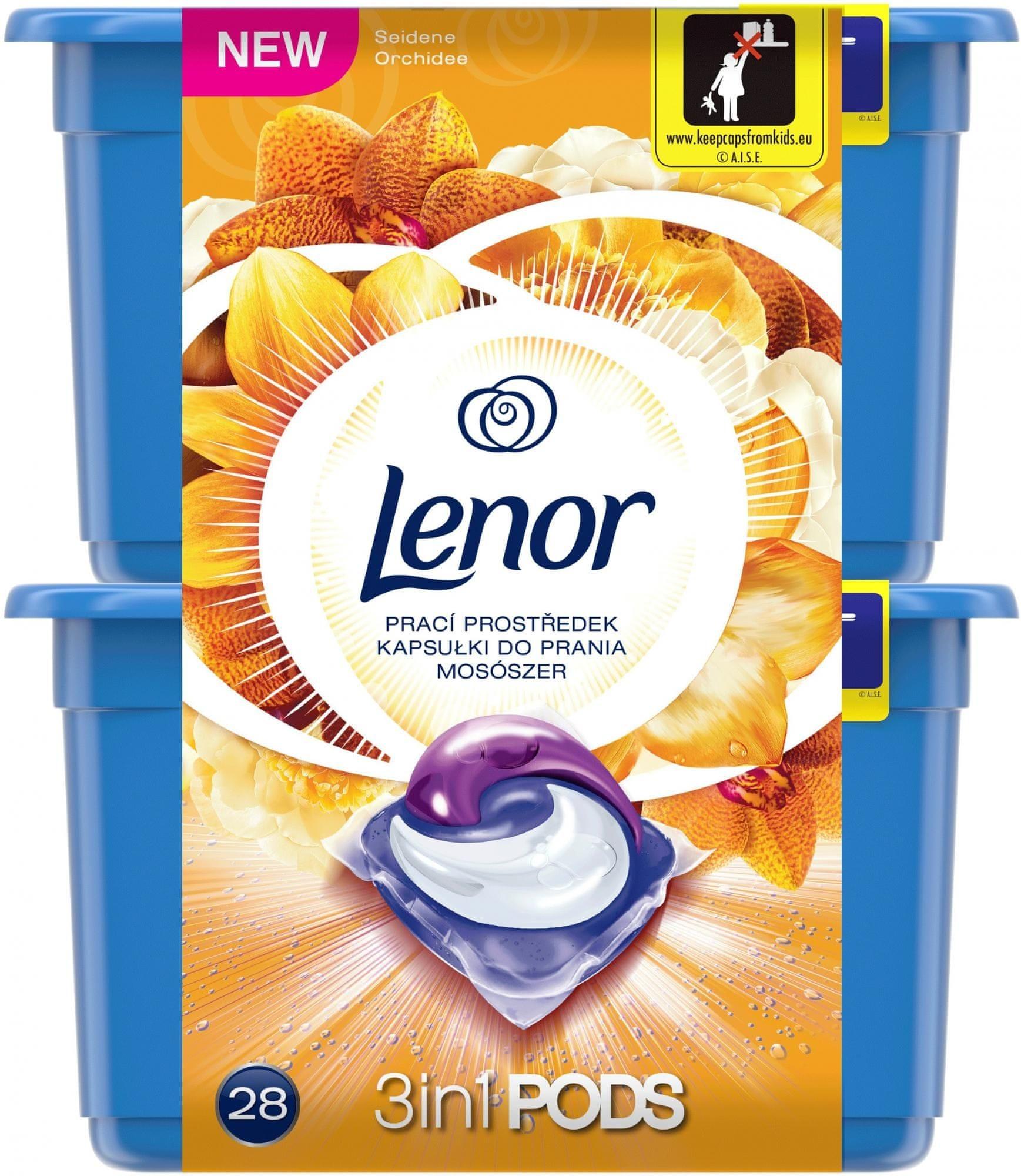 Lenor Shimmering Silk Orchid kapsle na praní 28 praní