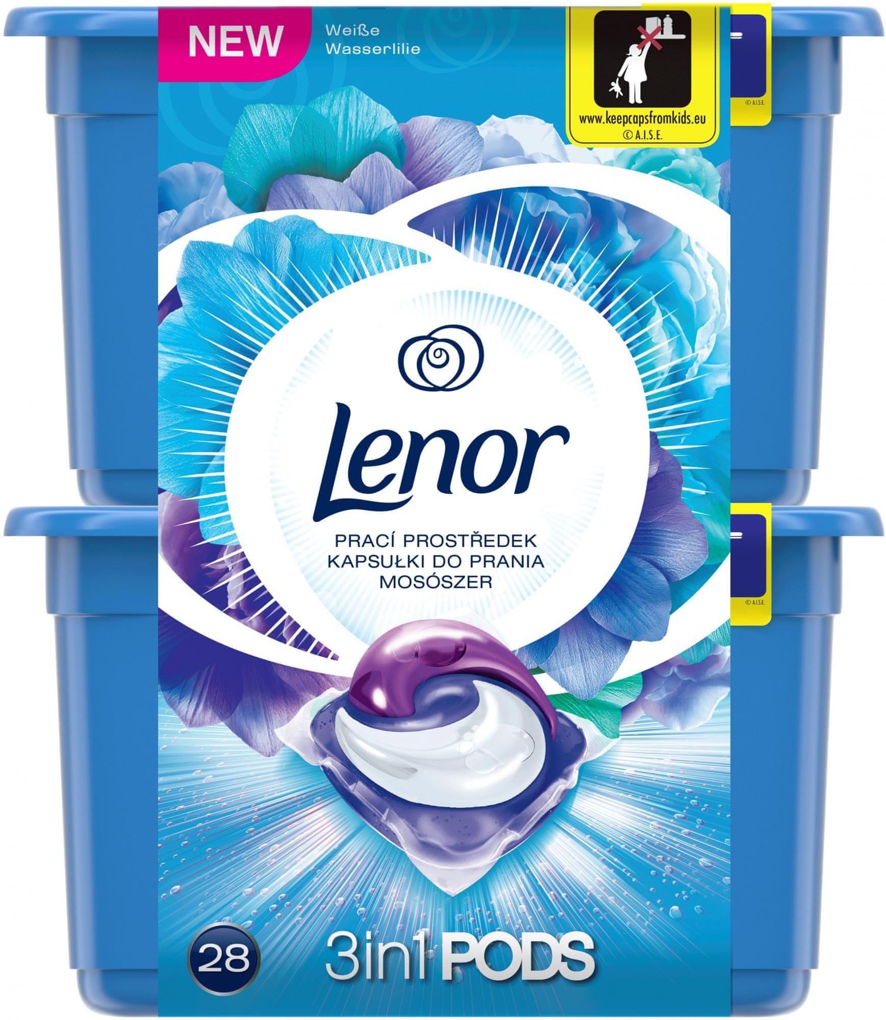 Lenor Radiant Water Lily kapsle na praní 28 praní