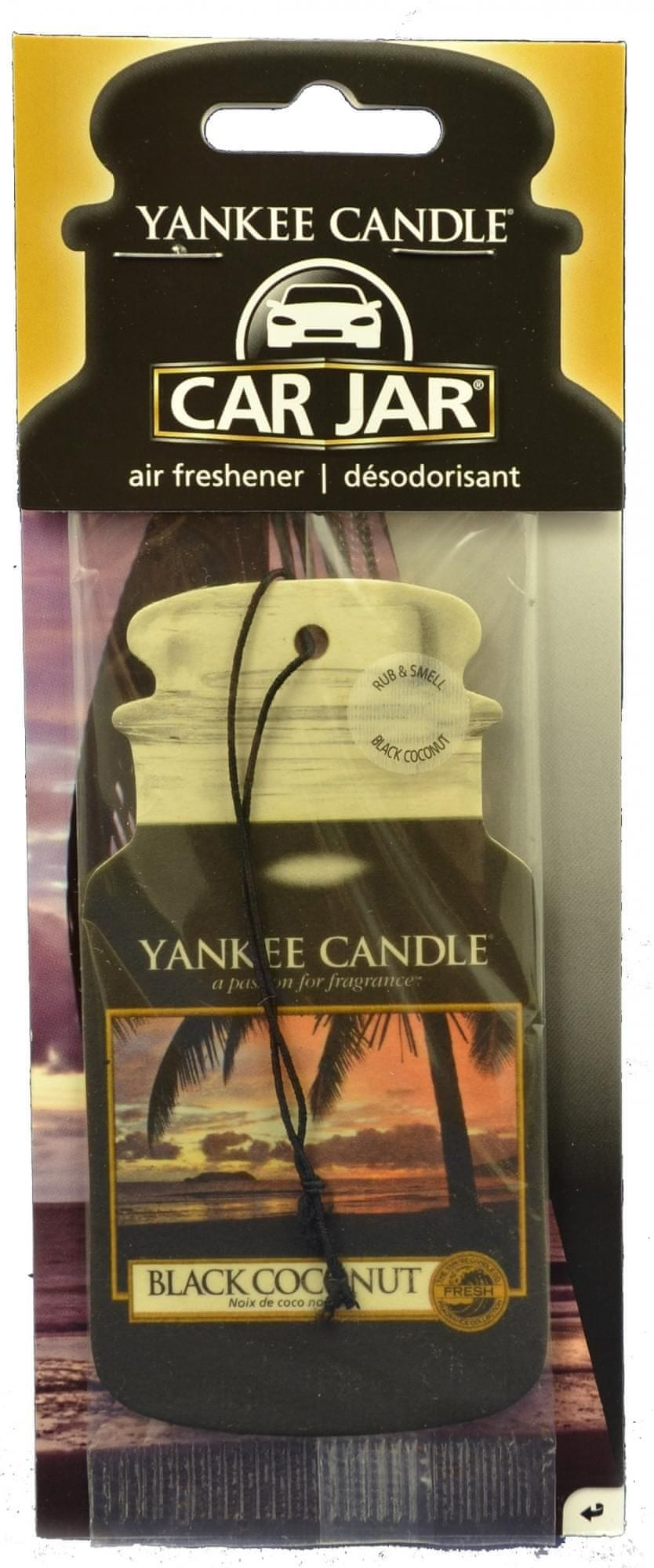 Yankee Candle Car Jar Black Coconut papírová visačka do auta 1 ks