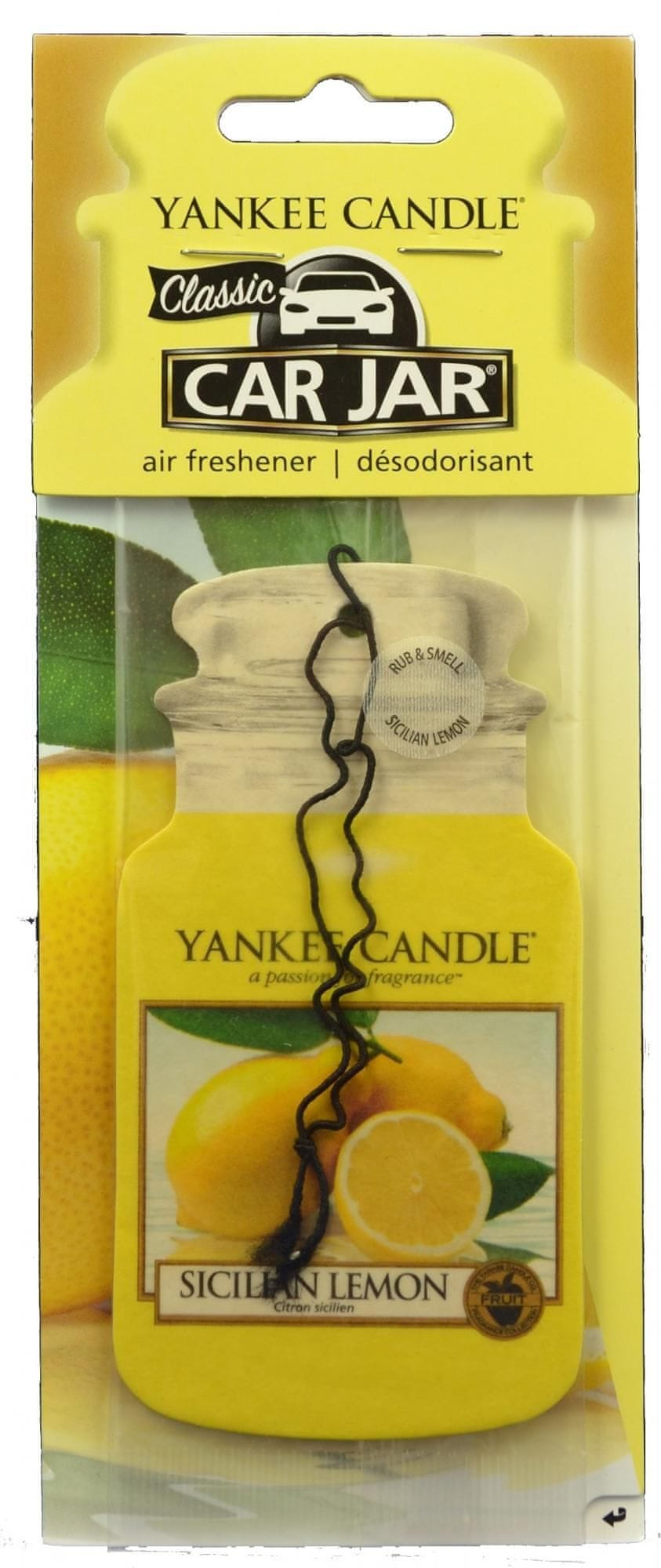 Yankee Candle Car Jar Sicilian Lemon papírová visačka do auta 1 ks