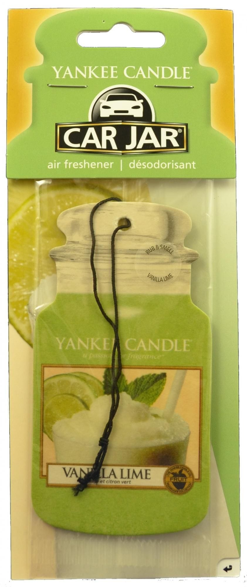 Yankee Candle Car Jar Vanilla Lime papírová visačka do auta 1 ks