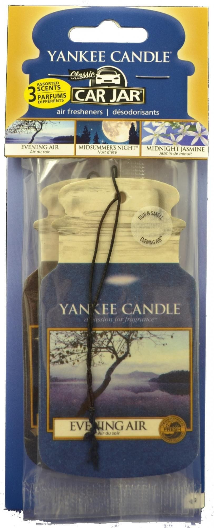 Yankee Candle Car Jar papírová visačka Evening Air, Midsummer's Night, Midnight Jasmine 3 ks