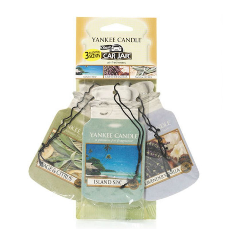 Yankee Candle Car Jar papírová visačka Island Spa, Lavender Vanilla, Sgae & Citrus 3 ks