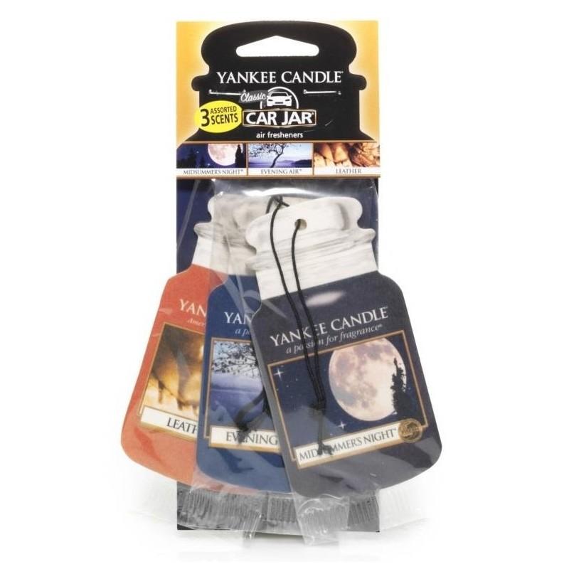Yankee Candle Car Jar papírová visačka Midsummers Night, Evening Air, Leather 3 ks