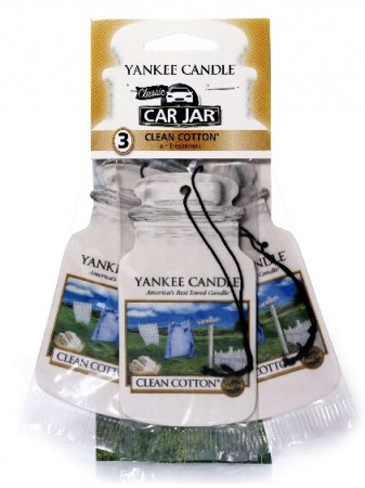 Yankee Candle Car Jar papírová visačka Clean Cotton 3 ks