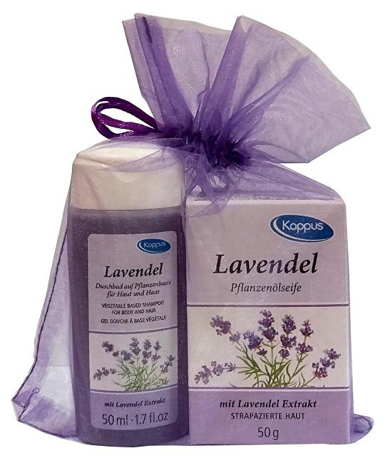 Dárkový balíček v organze Levandule (tělový šampon 50 ml, tuhé mýdlo 50 g)
