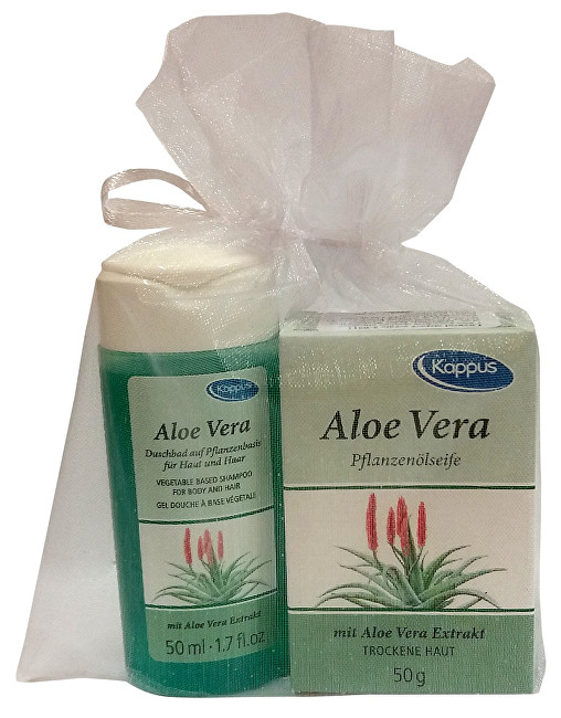 Dárkový balíček v organze Aloe vera (tělový šampon 50 ml, tuhé mýdlo 50 g)