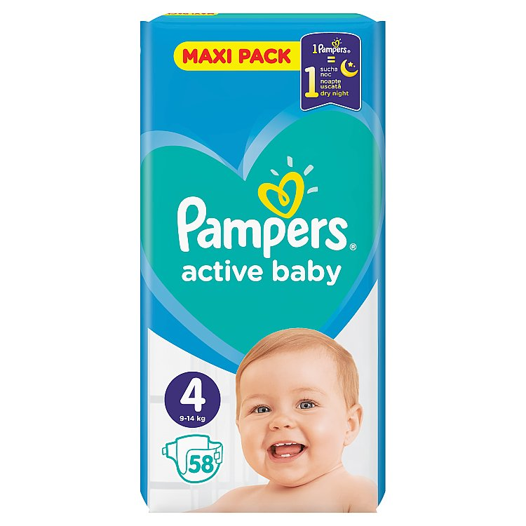Pampers Active Baby Maxi Pack S4 58 ks