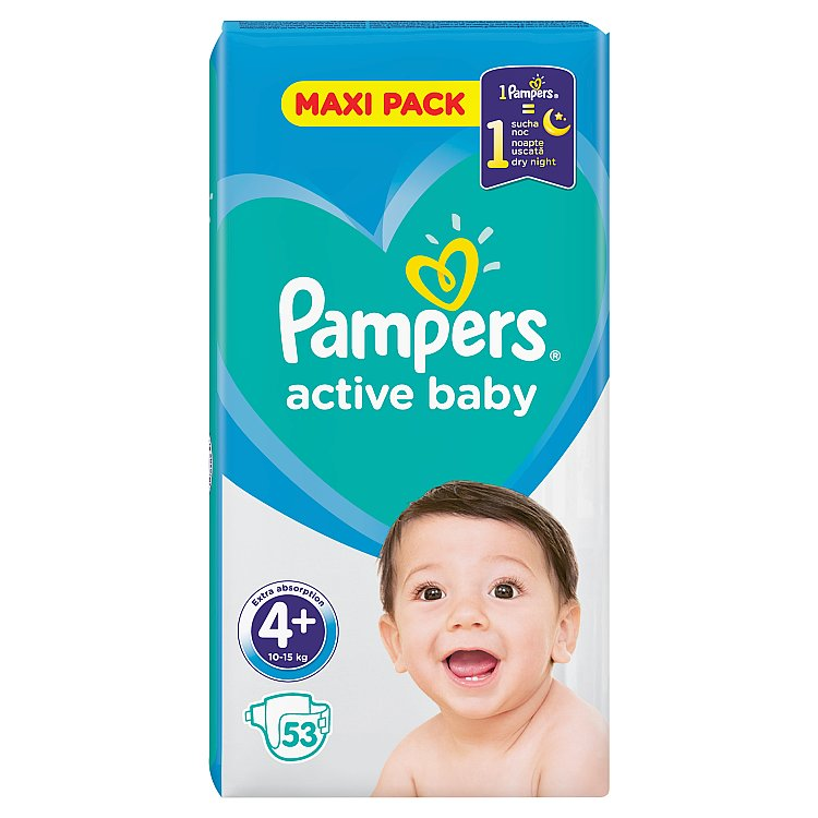 Pampers Active Baby Maxi Pack S4+ 53 ks