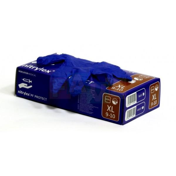 Fotografie Rukavice jednorázové bezpudrové XL; 22x11x7 cm; nitril 100 ks