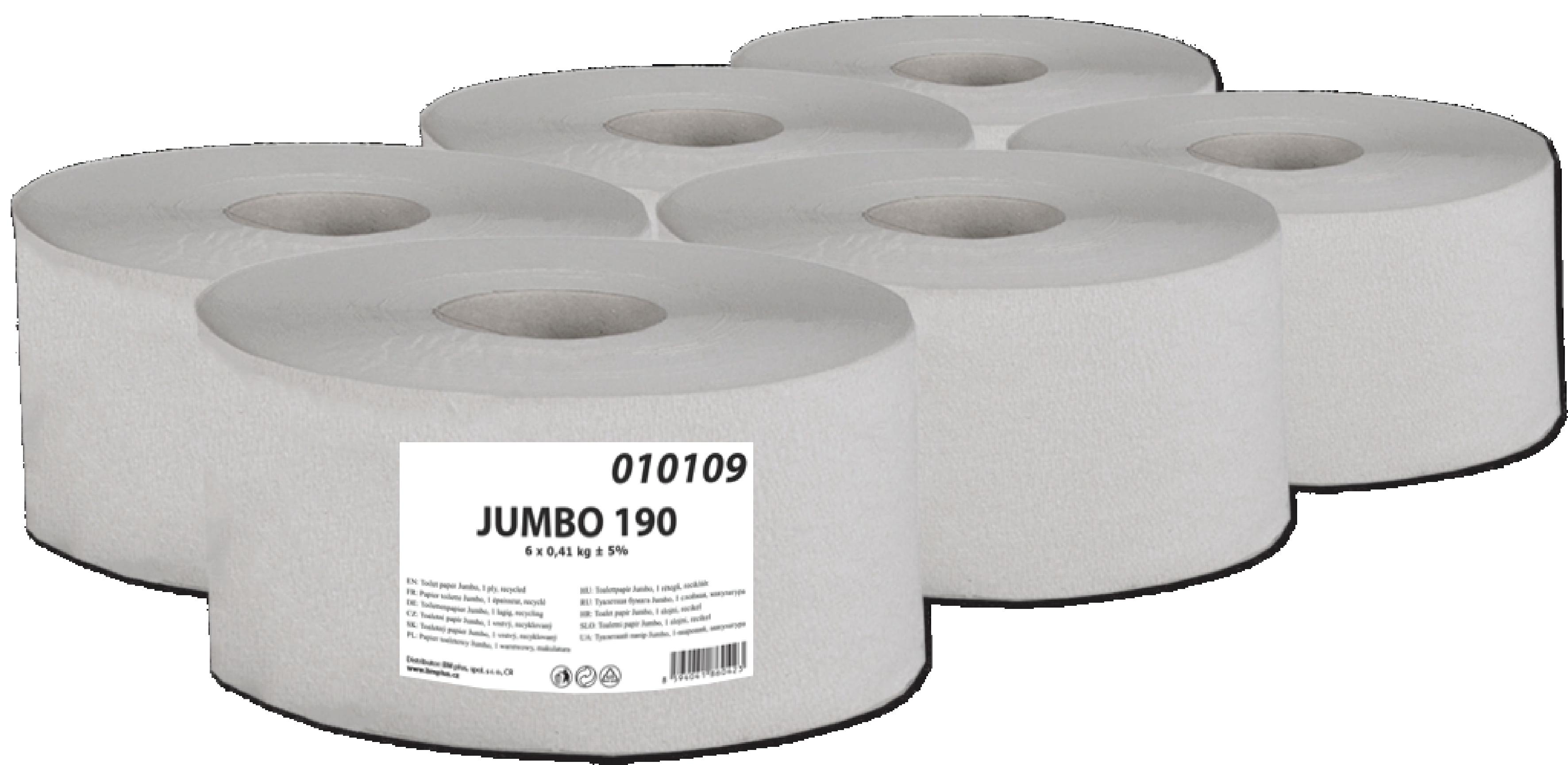 Fotografie Toaletní papír Jumbo 190 1-vrstvý šedý 1 role