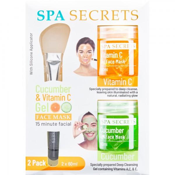 Spa Secrets Cucumber&Vitamin C gelová obličejová maska okurka 60ml + Vitamin C 60ml + silikonový aplikátor