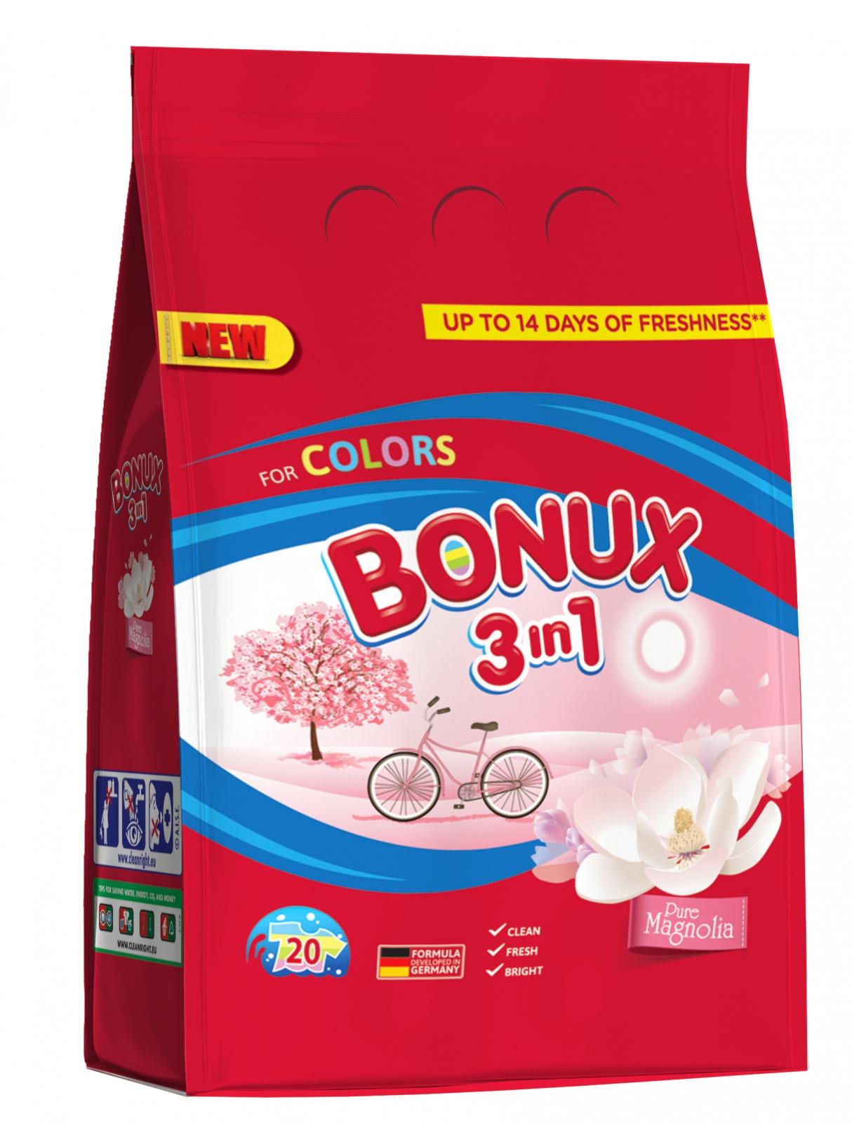 Bonux Color Pure Magnolia prací prášek, 20 praní 1,5 kg