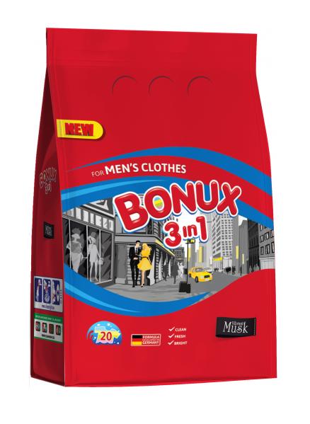 Bonux Vibrant Musk for Men prací prášek, 20 praní 1,5 kg