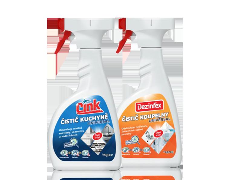 Cink čistič kuchyně + Dezinfex čistič koupelny Balíček univerzálních sprejů 500 ml + 500 ml