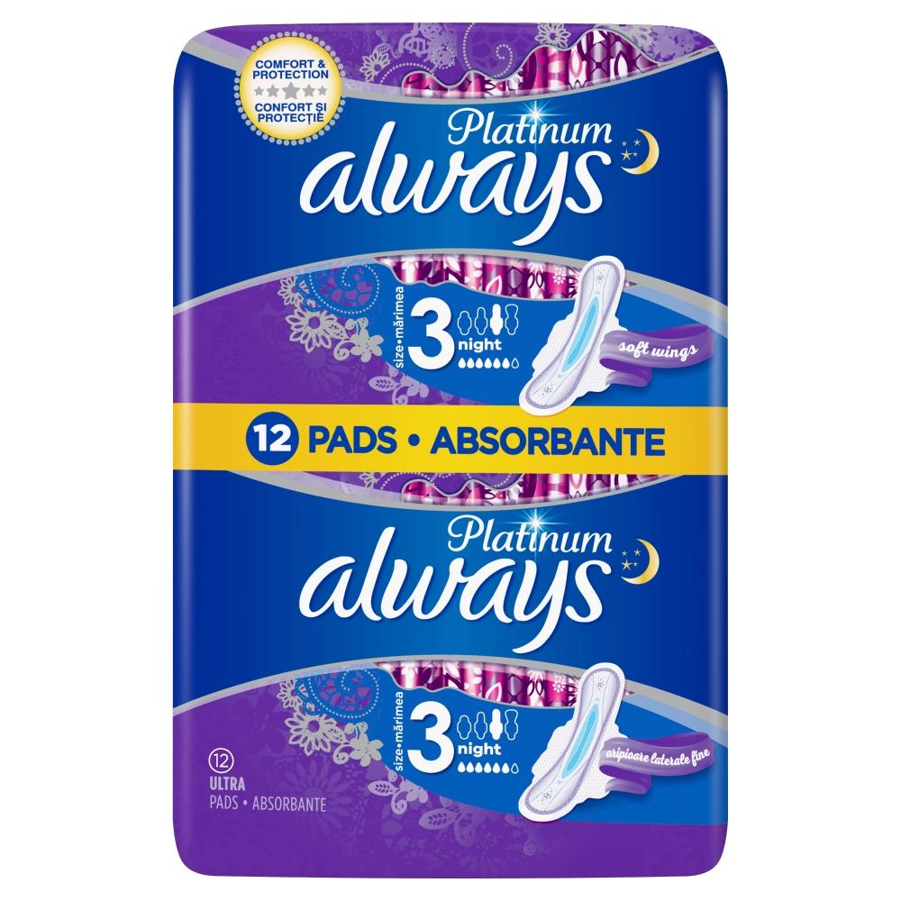 Always Platinum Night hygienické vložky s křidélky 12 ks